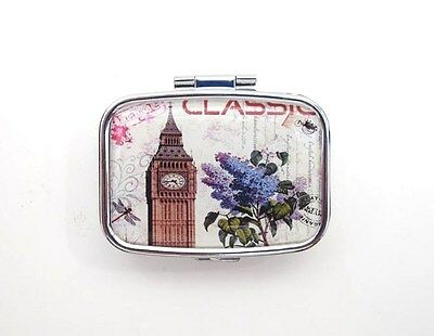 PILL BOX Square Travel Pillbox Two Sections LONDON TOWER & PURPLE LILACS Design