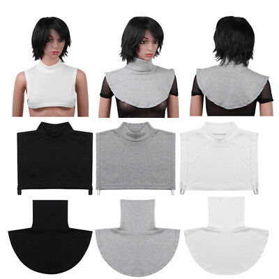 US Womens Stretchy Detachable Turtleneck Dickey Half Top Faux Collar Neck Blouse