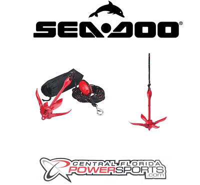 New Sea-Doo New OEM PWC Red Folding Anchor Kit, GXT RXT Wake Pro RXP, 295100750