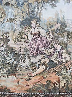 Vintage French Tapestry, Love Scene, Chateau   148 By 165 Cm