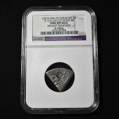 (1819) Curacao 3 Reaal Counterstamped On 1/5 Cut 8 Reales, Km29,  Ngc Fine