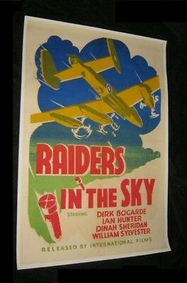 Original Canadian 1 Sheet RAIDERS IN THE SKY APPOINTMENT IN LONDON Linen Backed