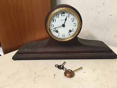 Rare Antique Ansonia Drum Head Balloon Top Tambour Mantle Clock