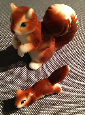 Pottery Porcelain Red Squirrel and Baby 4.5cm Hollow Rare