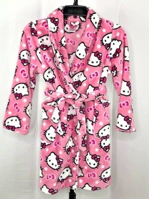 Hello Kitty Pink Fleece Robe with a Belt Sanrio Girls Sz 10 Excellent Condition