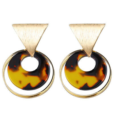 Women's Acrylic Round Circle Alloy Hollow Circle Acetate Dangle Earring Jewelry