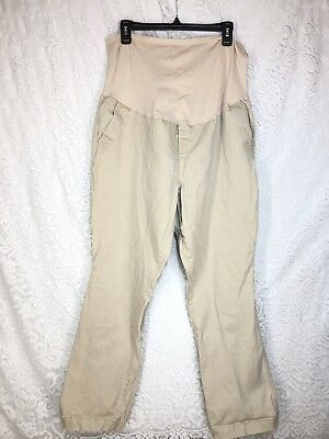 Old Navy Maternity Pants Khaki Womens 18 Full Belly Panel Stretch Casual C6