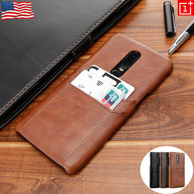 For Oneplus 6 6T Luxury Leather Slim Wallet Case 2 Cards Pocket Slots Back Cover