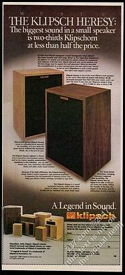 1980 Klipsch Heresy stereo speakers & other models color photo vintage print ad