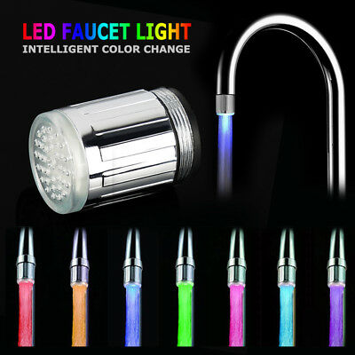7Colors Change Glow LED Tap Lights Water Stream Faucet Bathroom Kitchen Lamp UK#