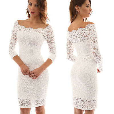 Women One Shoulder Lace White Dresses Long Sleeve Bodycon Cocktail Party Dress
