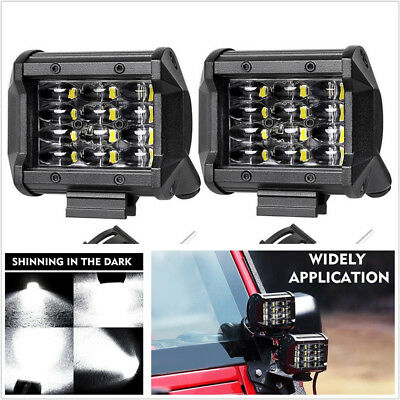 2pcs 72W IP68 LED Work Light Bar Flood Spot Offroad Truck Fog Driving SUV Boat