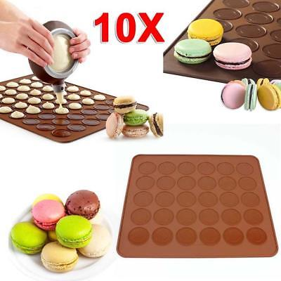 10x Silicone Pastry Muffin Cake Macaron Oven Bake Mould Mold Sheet Mat Coffee OD