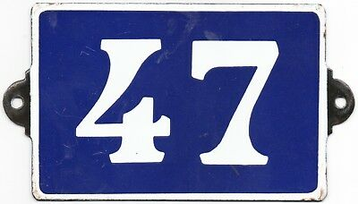 Old enamel French house number 47 for door or wall - thousands more  in stock