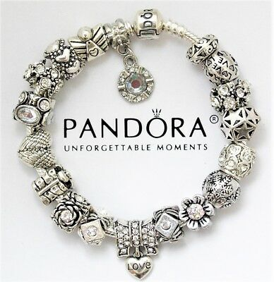 "Authentic Pandora Charm Bracelet with ""Love Story"" Heart European Charms"