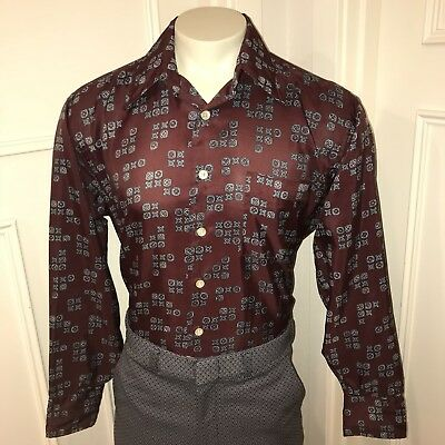 Vtg 60s 70s Burgundy MANCINI Mens XL Polyester Saturday Night Fever Disco shirt