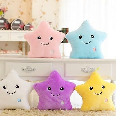 Romantic LED Light Up Glow Pillow Soft Cosy Relax Bed Cushion Star Shape Gift DX