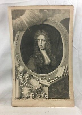 Orig. c1740 Engraving Hon. Robert Boyle after T. Kersseboom by George Vertue