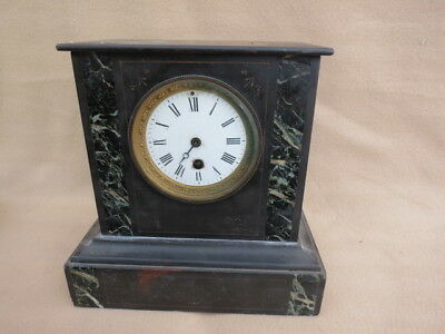 Antique French Marble And Slate Mantel Clock For Spares Or Repair