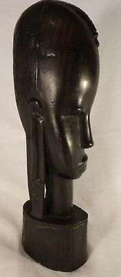 Hand Carved Ebony Wood Sculpture African Tribal Art Head Statue Figure
