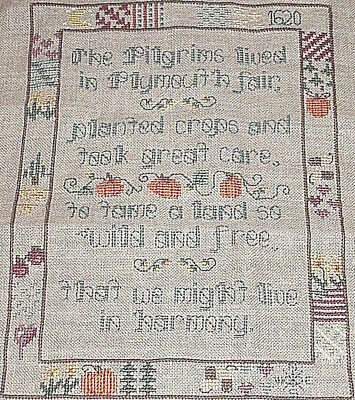 Vintage Completed Sampler THE PILGRIMS LIVED IN PLYMOUTH FAIR Cross Stitch,LINEN