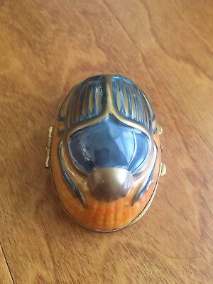 LIMOGES France Hand Painted Gold Gilded Egyptian Scarab, Trinket Box, Chamart