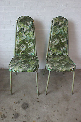 Vintage 1960's kitchen dining room green floral chairs mid century modern