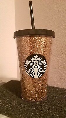 NEW Starbucks 2018 Holiday Glitter Gold and Black Cold Cup Tumbler 16oz