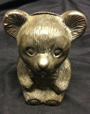 Vintage Silver-plated  Teddy Bear Coin Bank  By Leonard