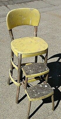 1950s 60s Vintage Cosco Folding Step Stool Kitchen Yellow Super Patina Rustic