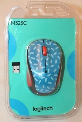 NEW LOGITECH M325C Wireless Optical Ambidextrous Mouse Red Blue Black  Sprinkles
