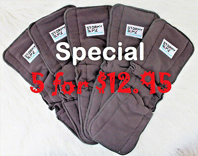 5 Bamboo Charcoal Insert Booster Baby Nappy Diaper Bulk reusable