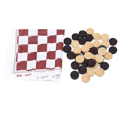 Portable Brown Wooden International Draughts Checkers Set Table Board Game Z