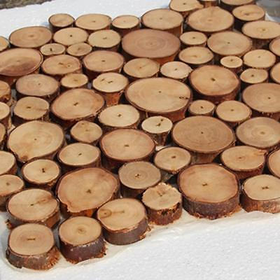 100x Pine Wood Slices Round Disc Tree Bark Wooden Circles DIY Craft Tool