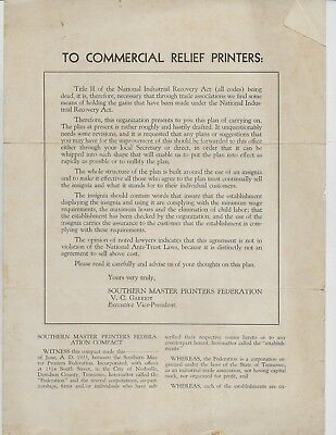 1935 Southern Master Printers Federation National Industrial Recovery Act; SALE!