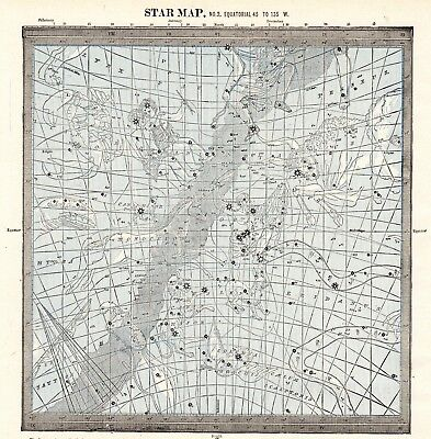 1888 Antique Star Constellation Map Vintage Astronomy Astrology Map 5932