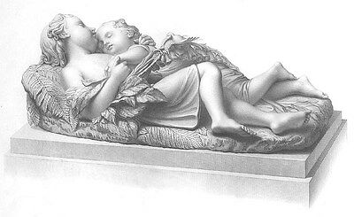 SLEEPING BABY BROTHERS KIDS CUDDLE in FOREST ~ Antique 1853 Art Print Engraving
