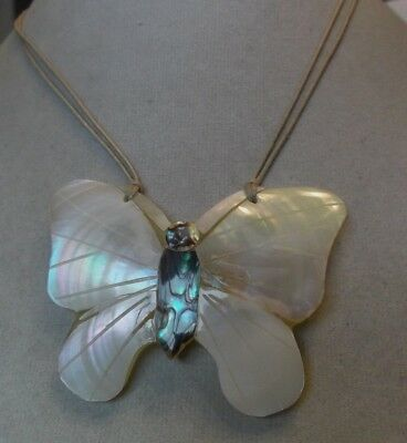 Mother of pearl and abalone Butterfly pendant necklace