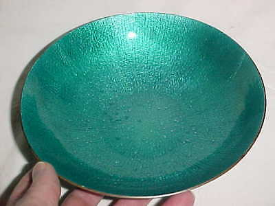Signed Marion Lang Modern Enamel Copper Art Bowl Midcentury Abstract Beautiful !