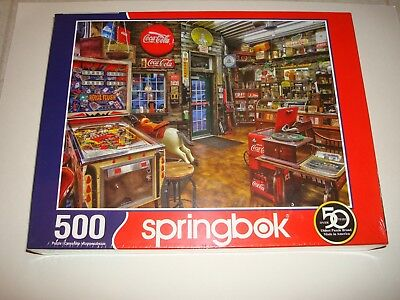 "Springbok ""Good Nabor Store"" 500 Piece Puzzle Pinball Machine Coke Coca Cola New"