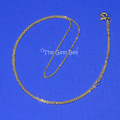 """18K SOLID YELLOW GOLD Cable Chain Necklace 16"""" With 2"""" Extender Adjustable"""