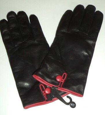 Ladies Red Button Cuff Thinsulate Leather Gloves,Black, XLarge
