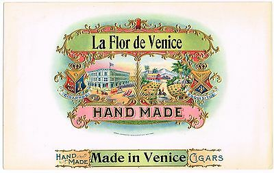 Cigar Box Label Vintage Inner Flor De Venice Embossed Original 1908 Schmidt