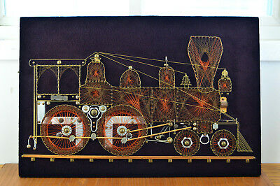 """Vintage Train String Art Large 24"""" x 16 1/8"""" Felt Recycled Metal Pieces 60s 70s"""