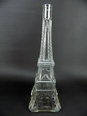 """Vintage Large French Eiffel Tower Empty Clear Glass Bottle Jar 13.75"""" No Stopper"""