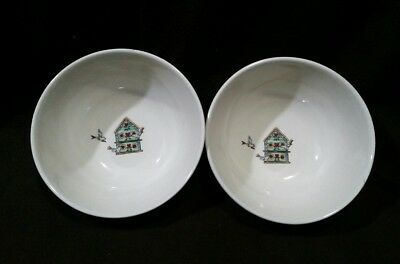 "Pair Of Thomson Pottery Birdhouse 6 1/4"" Cereal Soup Or Salad Bowls"