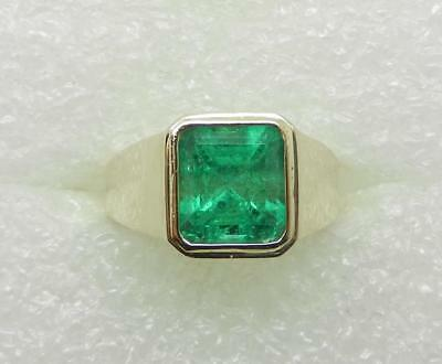 14K Yellow Gold Men's 5.90 Cts Colombian Emerald Ring  - Appraised - Lb2954