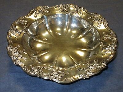 """Vintage SILVER PLATE 11"""" Round Dish/Bowl by TOWLE - FLOWERS/ROSES/SCROLLS"""