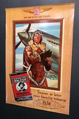 Original Raleigh Cigarette Poster Sign WWII War Pilot Military  Old Guaranteed