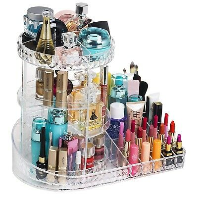 360 Degree Rotating Makeup Organizer 3-tier Acrylic Clear Cosmetic Storage Case